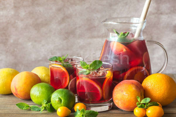 A pitcher of Spanish fruit Sangria Stock photo © Alex9500