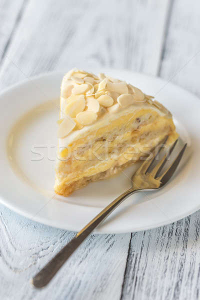 Porción egipcio torta blanco placa tenedor Foto stock © Alex9500