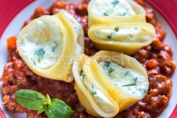 Сток-фото: фаршированный · соус · болоньезе · обеда · пластина · мяса · томатный