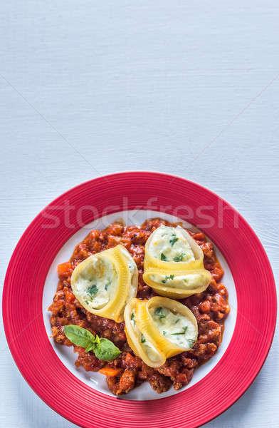 фаршированный соус болоньезе продовольствие пространстве пасты пластина Сток-фото © Alex9500