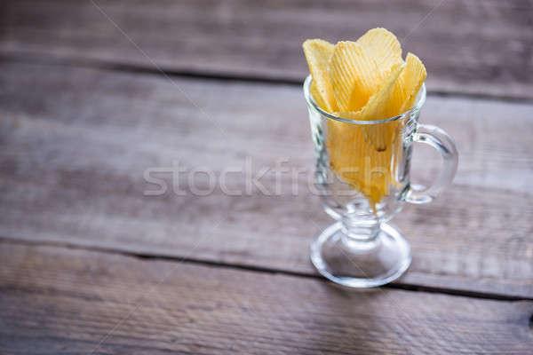 Chips glas kom voedsel zwarte lunch Stockfoto © Alex9500