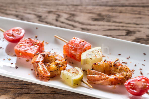 Skewers with shrimps and salmon Stock photo © Alex9500