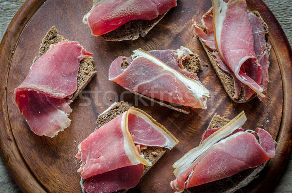 Sandwiches Italiaans ham brood Rood Stockfoto © Alex9500