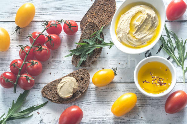 Paradicsomok kenyér friss szeletek háttér nyár Stock fotó © Alex9500