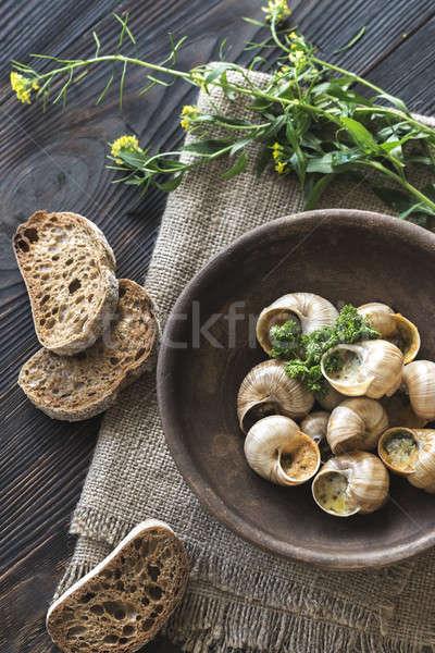 Foto stock: Tigela · cozinhado · verde · jantar · caracol · refeição