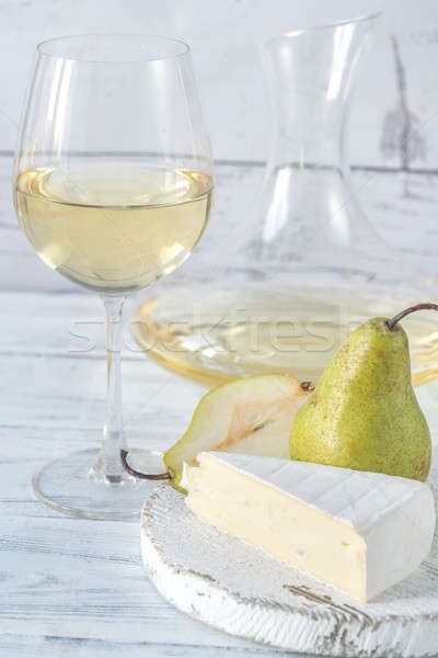Glass of white wine with cheese and pears Stock photo © Alex9500