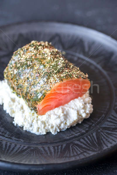 Salmon in mint sauce with herbs and ricotta Stock photo © Alex9500
