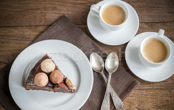 Portion of Sacher torte with two cups of coffee Stock photo © Alex9500