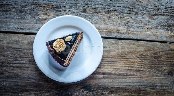 Csokoládés sütemény háttér torta asztal fekete villa Stock fotó © Alex9500