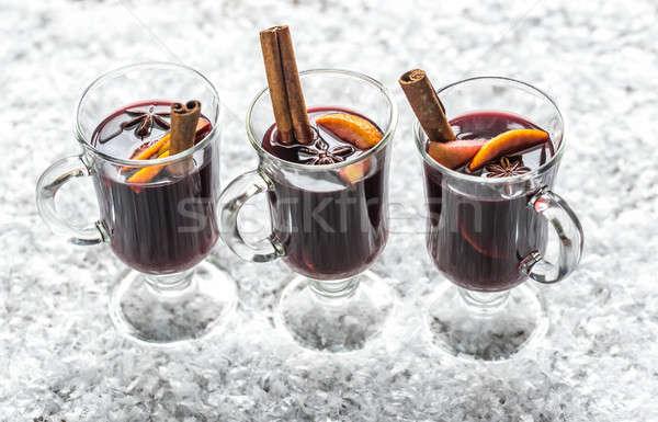 Verres vin neige verre orange hiver Photo stock © Alex9500