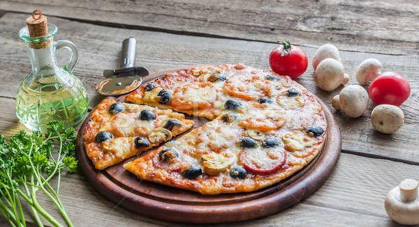 Cozinhado pizza fundo restaurante verde Foto stock © Alex9500