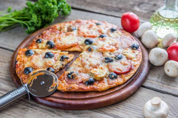 приготовленный пиццы фон ресторан зеленый Сток-фото © Alex9500