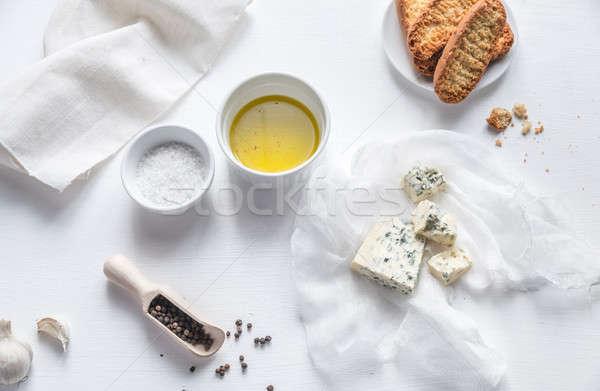 Aperitivo queijo azul tabela azul pão queijo Foto stock © Alex9500