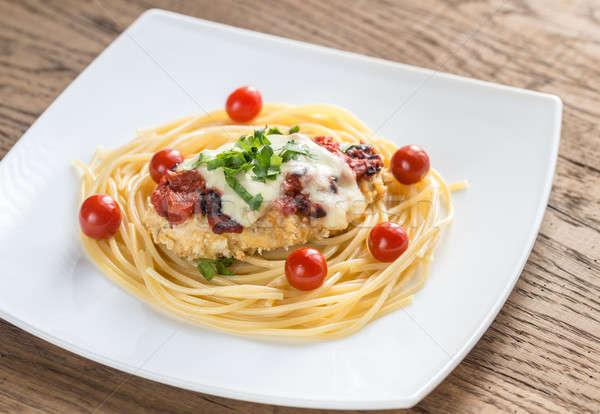 Gebakken kip parmezaan mozzarella restaurant borst Stockfoto © Alex9500