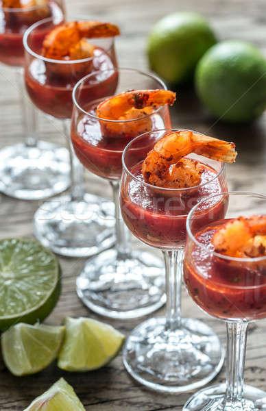 Garnéla koktélok hal étterem citrus rózsaszín Stock fotó © Alex9500