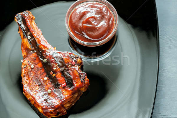 Grilled pork ribs on the plate Stock photo © Alex9500
