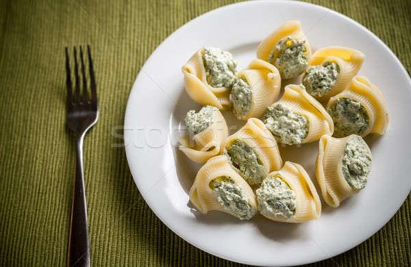 Foto d'archivio: Ripieno · formaggio · sfondo · cena · forcella · bianco