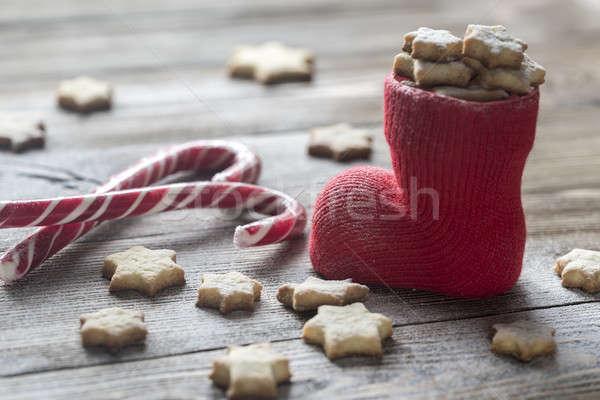 Vaj sütik karácsony harisnya étel háttér Stock fotó © Alex9500