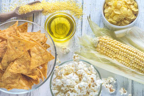 Stockfoto: Variatie · producten · voedsel · achtergrond · tabel · mais