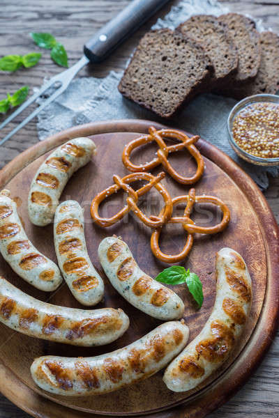 Grilled sausages with pretzels Stock photo © Alex9500