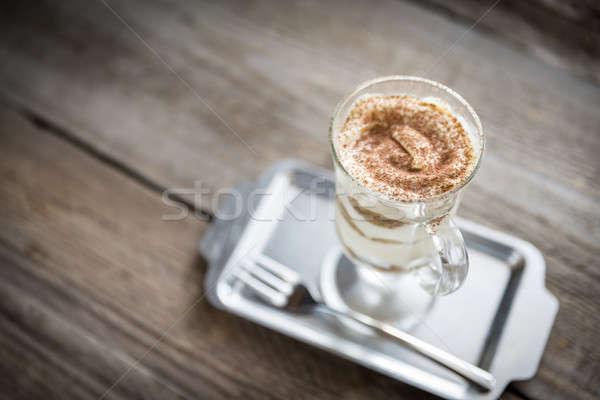 Tiramisu Glas Holz Kaffee Licht Käse Stock foto © Alex9500