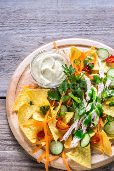 Nachos with chicken and vegetables Stock photo © Alex9500