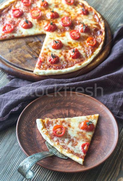 Pizza kerstomaatjes mozzarella restaurant kaas diner Stockfoto © Alex9500