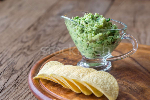 Guacamole with chips on the wooden board Stock photo © Alex9500