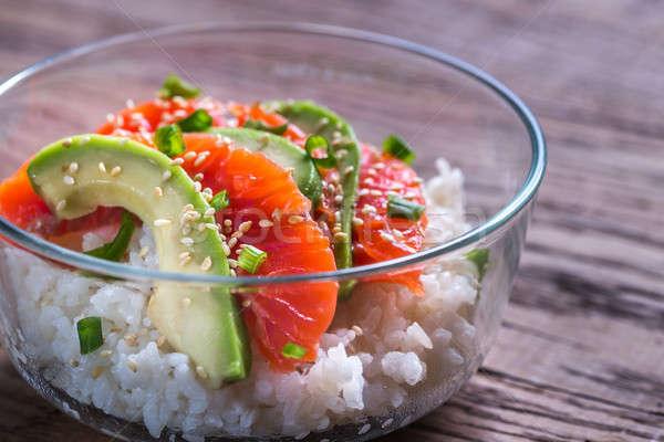 Beyaz pirinç somon avokado gıda turuncu Stok fotoğraf © Alex9500
