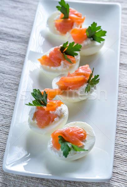 Salmon cream cheese deviled eggs Stock photo © Alex9500