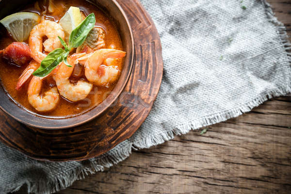 Spicy french soup with seafood Stock photo © Alex9500