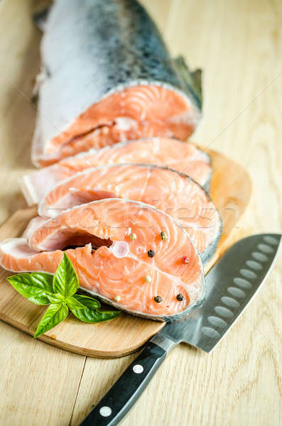 Fresche salmone alimentare arancione verde gruppo Foto d'archivio © Alex9500