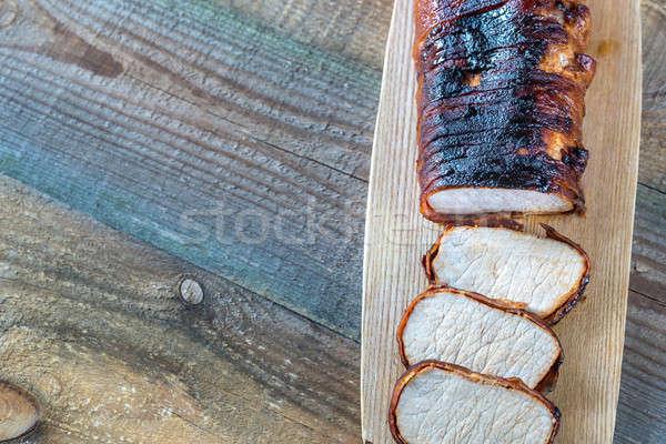 Disznóhús vesepecsenye szalonna fa deszka asztal élet Stock fotó © Alex9500