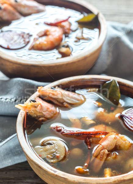 Dwa kręgle tajska yum zupa żywności Zdjęcia stock © Alex9500
