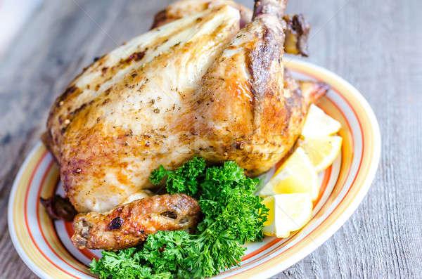 Gegrillt ganze Huhn grünen Fett kostenlos Stock foto © Alex9500