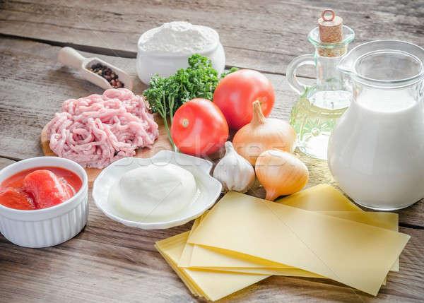 Hozzávalók lasagne fából készült asztal sajt hús Stock fotó © Alex9500