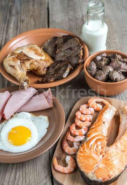 Protein ürünleri ahşap gıda yumurta arka plan Stok fotoğraf © Alex9500