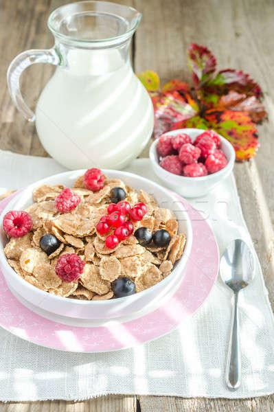 Wholegrain granola with milk and fresh berries Stock photo © Alex9500