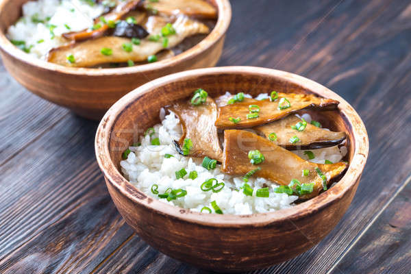 Bowls of rice with teriyaki king oyster mushrooms Stock photo © Alex9500