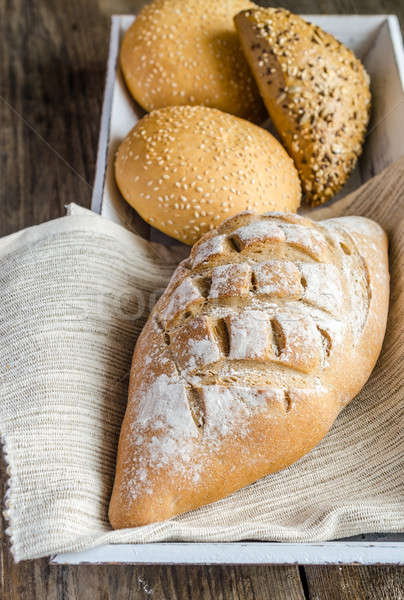 Whole wheat bread with sesame and flax-seed buns Stock photo © Alex9500