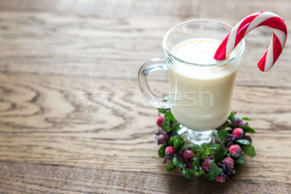 A glass of eggnog with mince pies Stock photo © Alex9500