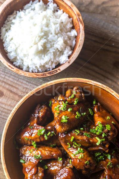Tál teriyaki tyúk szárnyak rizs étel Stock fotó © Alex9500
