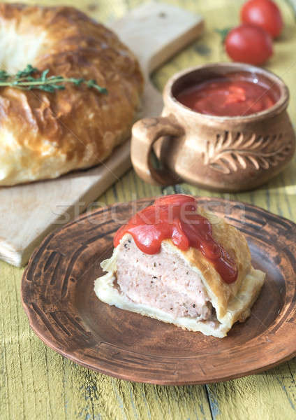 Portion of beef Wellington with tomato sauce Stock photo © Alex9500