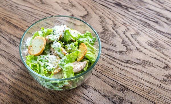 Foto stock: Tazón · pollo · ensalada · cesar · huevo · espacio · verde