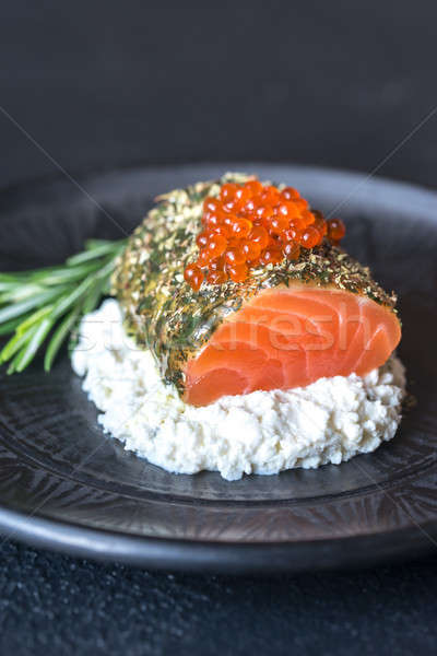 Salmon in mint sauce with red caviar and ricotta Stock photo © Alex9500