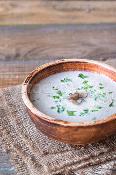 Porción cremoso setas sopa fondo verde Foto stock © Alex9500