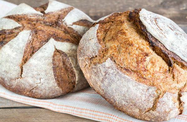 Dwa chleba śniadanie pokładzie świeże zdrowych Zdjęcia stock © Alex9500
