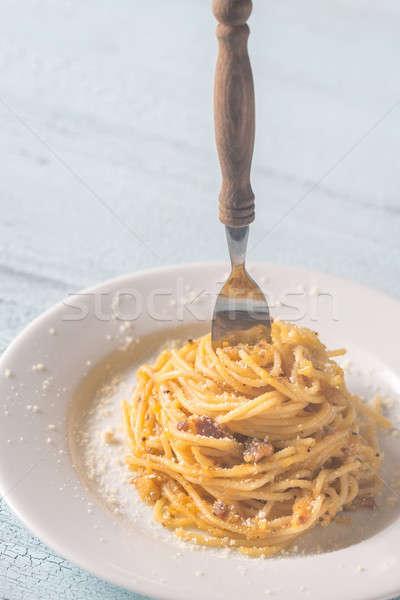 Foto stock: Porción · huevo · fondo · mesa · queso · pasta