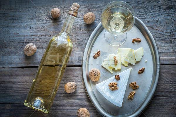 Brie noten papier voedsel glas metaal Stockfoto © Alex9500