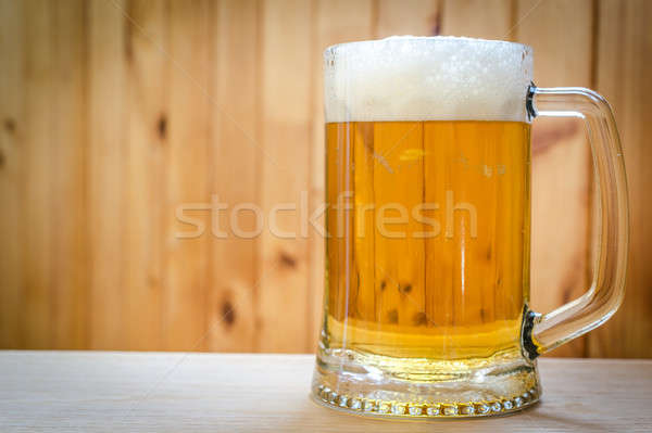 Beer mug on the wooden background Stock photo © Alex9500